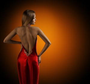 Woman Naked Back, Womanly Fashion Model Posing Sexy Red Dress, E